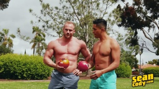hunks play dodgeball then head inside to fuck