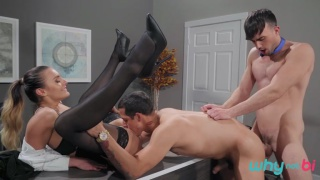 male & female boss share their admin assistant's ass & mouth