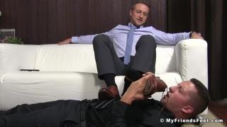 man's boss becomes his foot slave