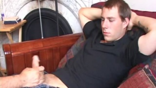 young guy tries holding back during this handjob