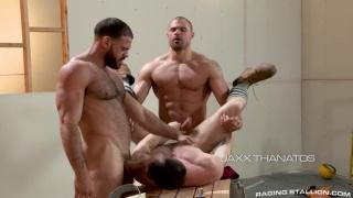 threeway sex with Ricky Larkin & Jaxx Thanatos fucking Kurtis Wolfe at raging stallion