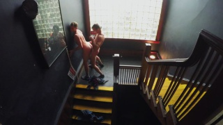 two horny guys fucking in apartment building staircase at Reality Dudes