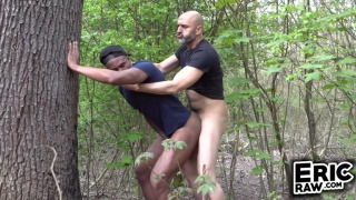 jogger leans against a tree in the woods & gets fucked