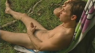 after a skinny dip, this sexy guy jacks his dick
