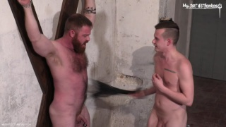 slim twink fist fucking a bearded hairy hunk