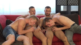 4 guys start to kiss & fondle while watching straight porn