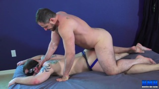 blindfolded sex with Marc Giacomo and Chip Young at Breed Me Raw