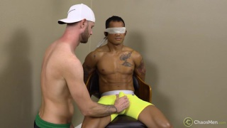 blindfolded blowjob with inked guy getting sucked off