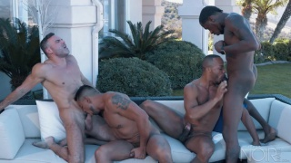 interracial fourway with deep dicc and manuel skye at Noir Male