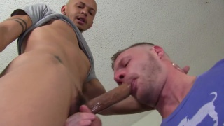 guy helps his buddy with his gag reflex at spunk u