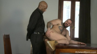 hairy hunk gets fucked by bald south american stud