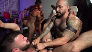 seven men fucked and filled in horny orgy