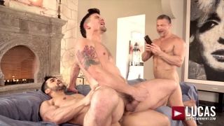 muscle daddy films his buddy rides a hot stud's cock