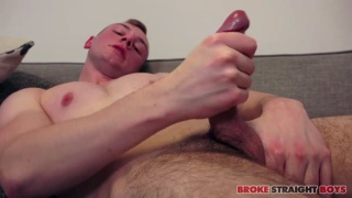 ginger lad strokes his cock in audition video