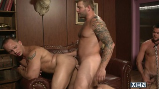 Rich man serviced in orgy
