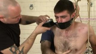 Bound hetero guy gets lashed