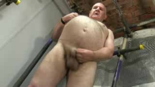 big-bellied grandpa jacking off