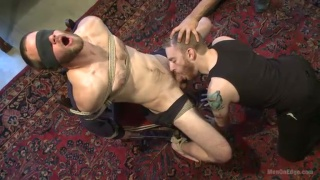 scruffy straight dude bound and cock edged