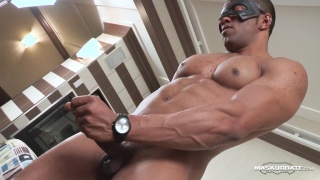 ripped masked black hunk jacking off