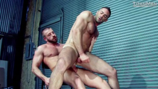 hairy muscle hunk rides a hard cock