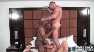 Two white guys and a black guy bareback