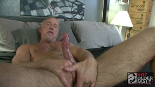 Older Man jacking off on the couch