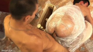 bottom wrapped in plastic wrap and fucked