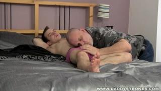 Daddy Stroking his Boy's Cock