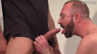 cowboy feeds handsome hunk his huge cock
