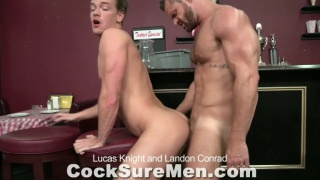 Cute muscle boy fucks daddy in bar