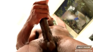 black muscle stud beating off