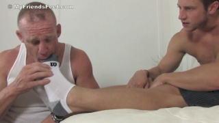 Foot master Kenny gets feet sniffed and sucked