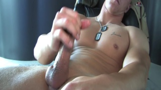 huge marine jacking his dick