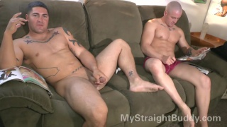 straight marine buddies jerk off together