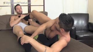 Dominic Pacifico worships Isaac Hardy's bare feet
