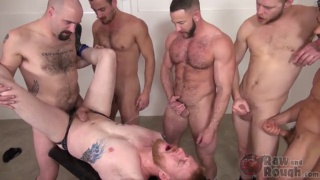 ginger bottom gang fucked and pissed on