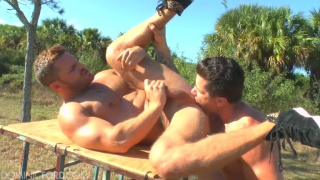 Trenton and Landon fucking outdoors