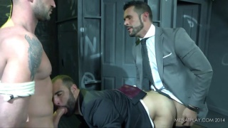 bound hung straight guy used by 2 gay men