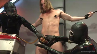 long-hair slave gets cock edged