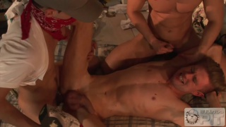 hung bottom fucked by two masked mates
