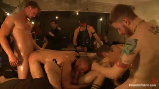gay slut tied up and fucked by crowd of men