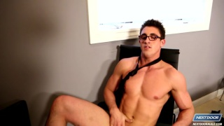 geeky guy with glasses jacking off
