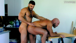 hairy inked top fucks bald hunky bottom