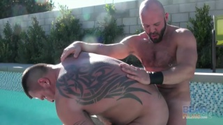 Carlo Cox and Marc Angelo at bear films