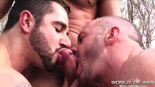 Three guys have sex outdoors
