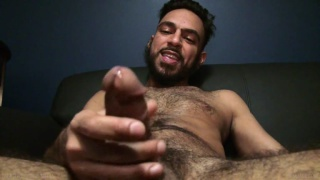 scruffy man jacking his big fat dick