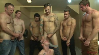 toilet slut gets his ass gang banged