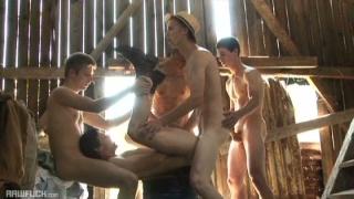 5 farm boys fucking in barn
