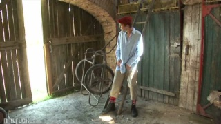 hot lad jacking off in hay barn