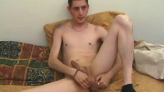 stud fucks himself with pink dildo